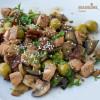 Stir-fry de somon, vinete si ciuperci/ Salmon, eggplant & mushroom stir-fry