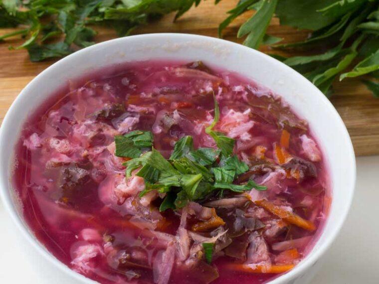 Ciorba de loboda / Red mountain spinach soup